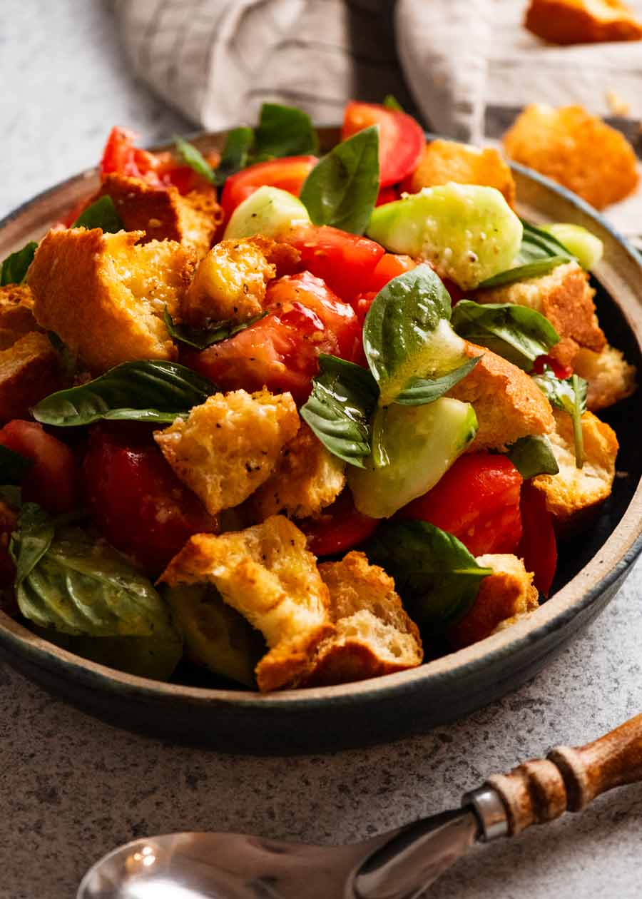 Panzanella Italian tomato and bread salad in a bowl, ready to be served
