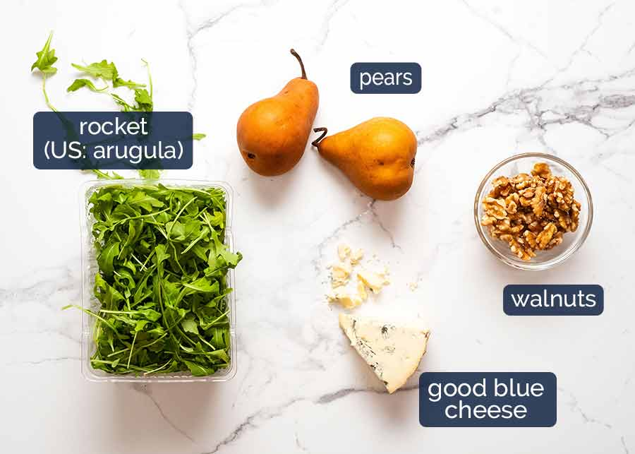 Ingredients in Pear Salad with Blue Cheese and Rocket Arugula