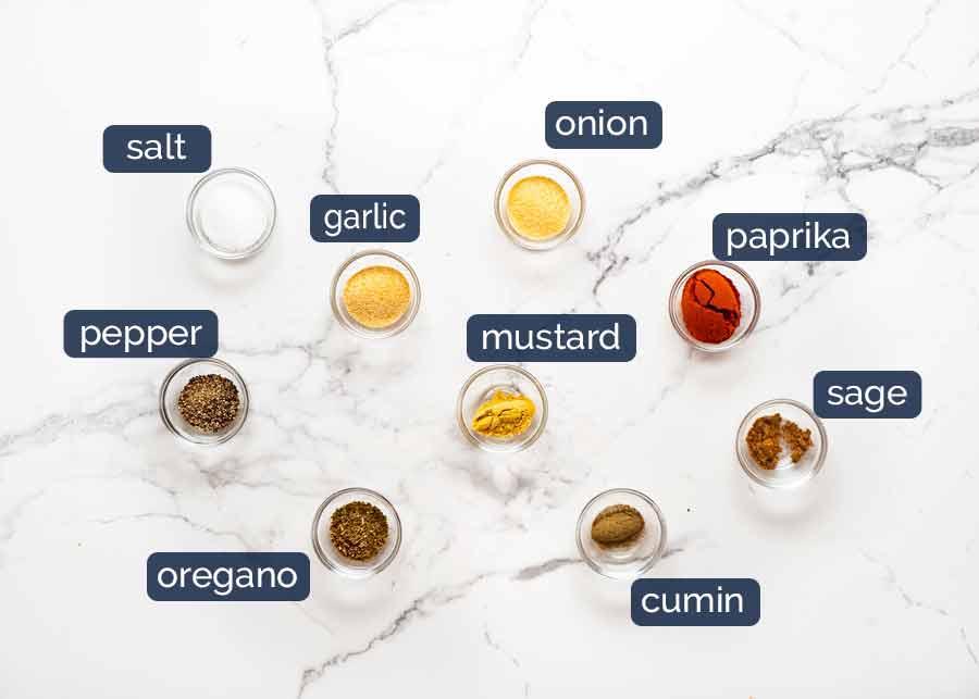 Ingredients in Pork Rub - seasoning recipe