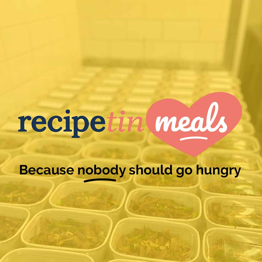 RecipeTin Meals cover graphic, yellow with meals in background