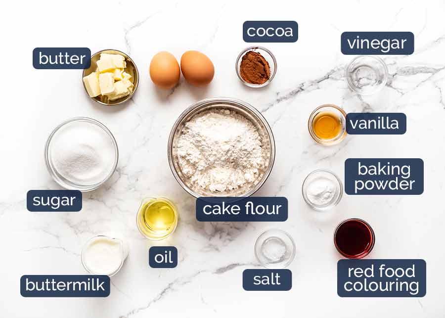 Ingredients for Red Velvet Cupcakes