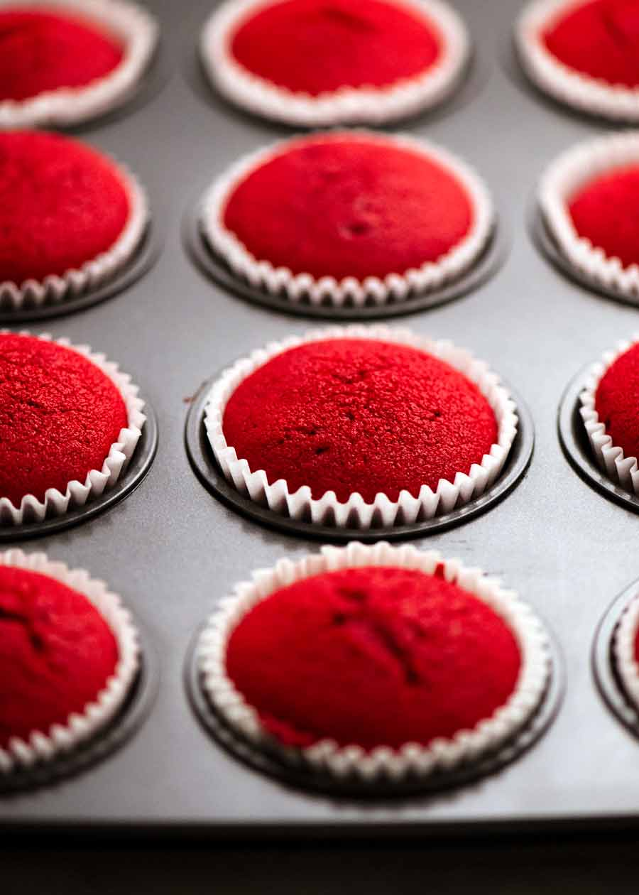 Red Velvet Cupcakes fresh out of the oven