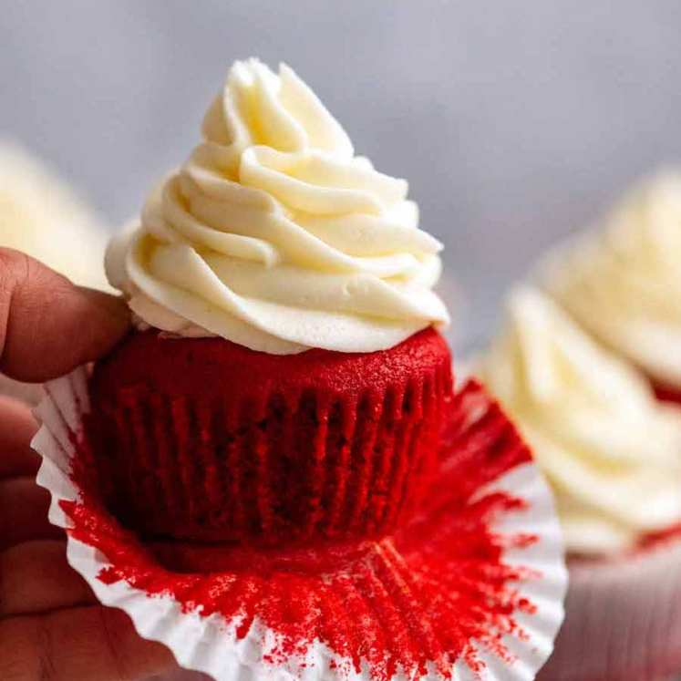 Close up of a Red Velvet Cupcake with Cream Cheese Frosting