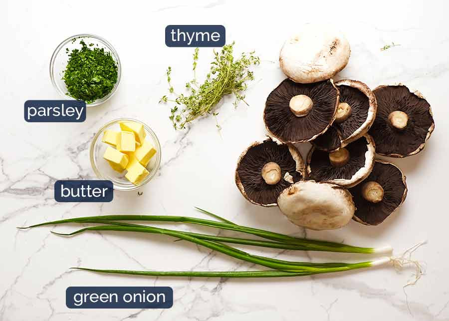 Ingredients for Roasted Large Mushrooms with Green Onion Thyme Butter