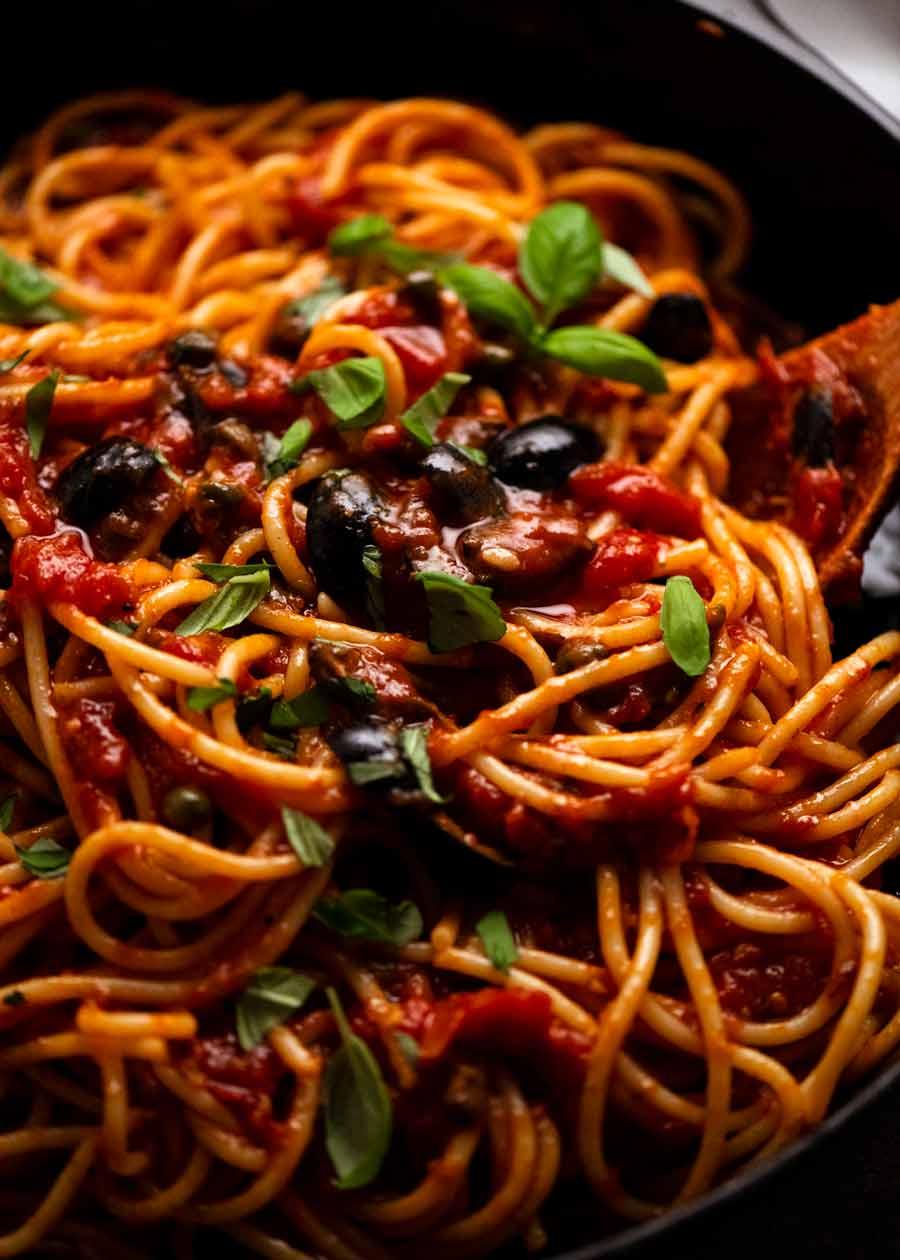 Close up of Spaghetti alla Puttanesca freshly made