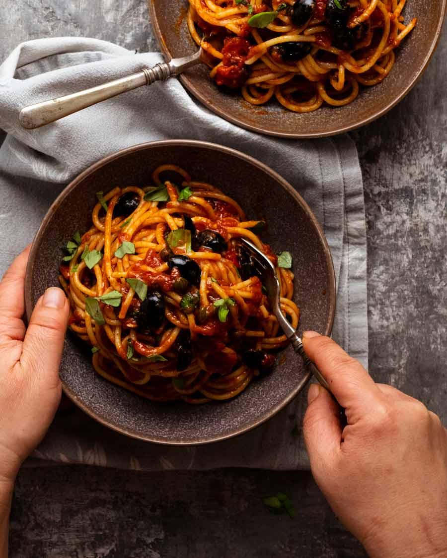 Eating Spaghetti alla Puttanesca