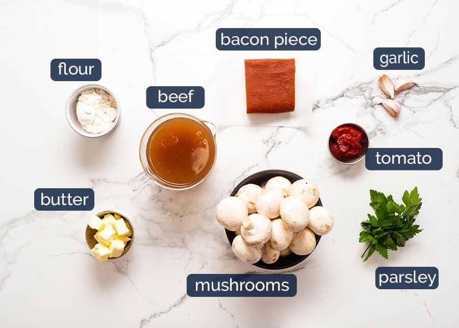 Ingredients in Coq au Vin - French chicken stew