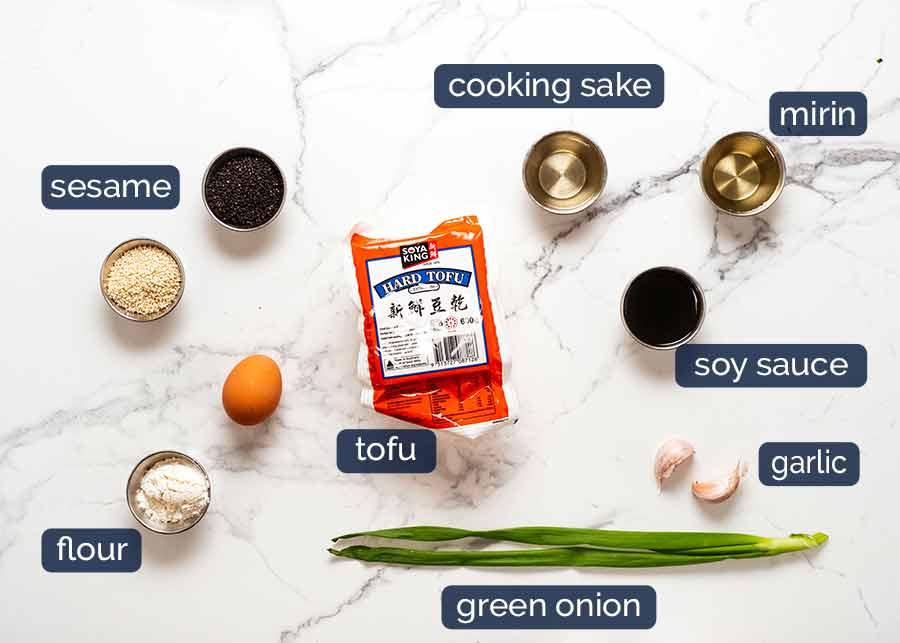 Ingredients in Sesame crusted Tofu Steaks with Teriyaki Sauce