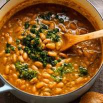 Freshly made pot of El Bulli Bean Soup with Picada