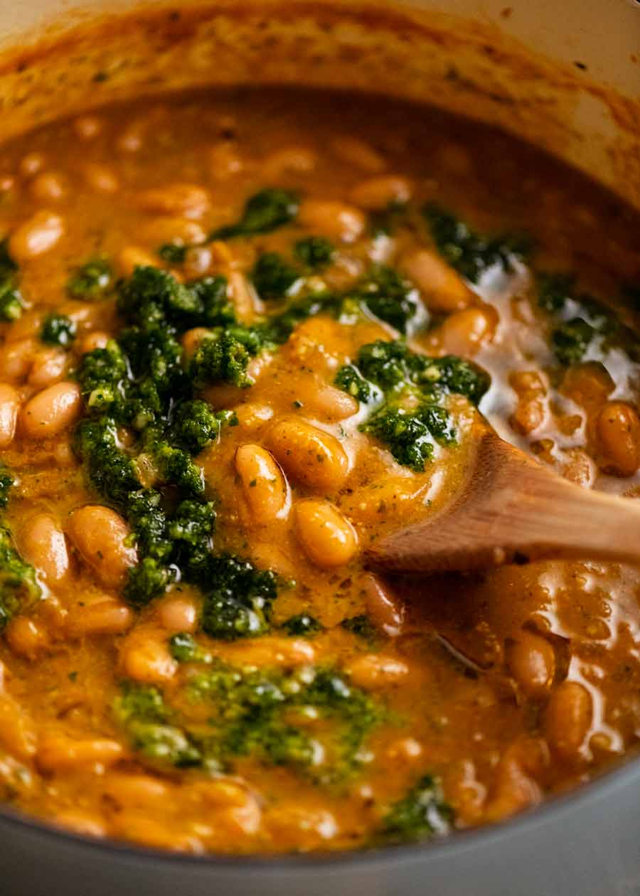 Close up of freshly made pot of El Bulli Bean Soup with Picada