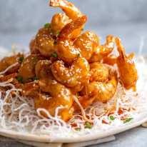 Pile of ultra crispy Honey Prawns