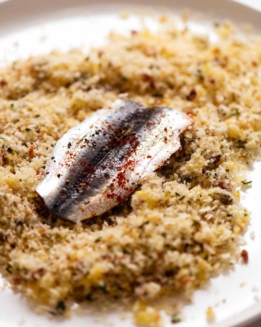 Making Mediterranean Crusted Sardines