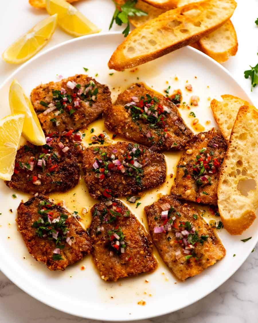 Overhead photo of plate of Mediterranean Crusted Sardines