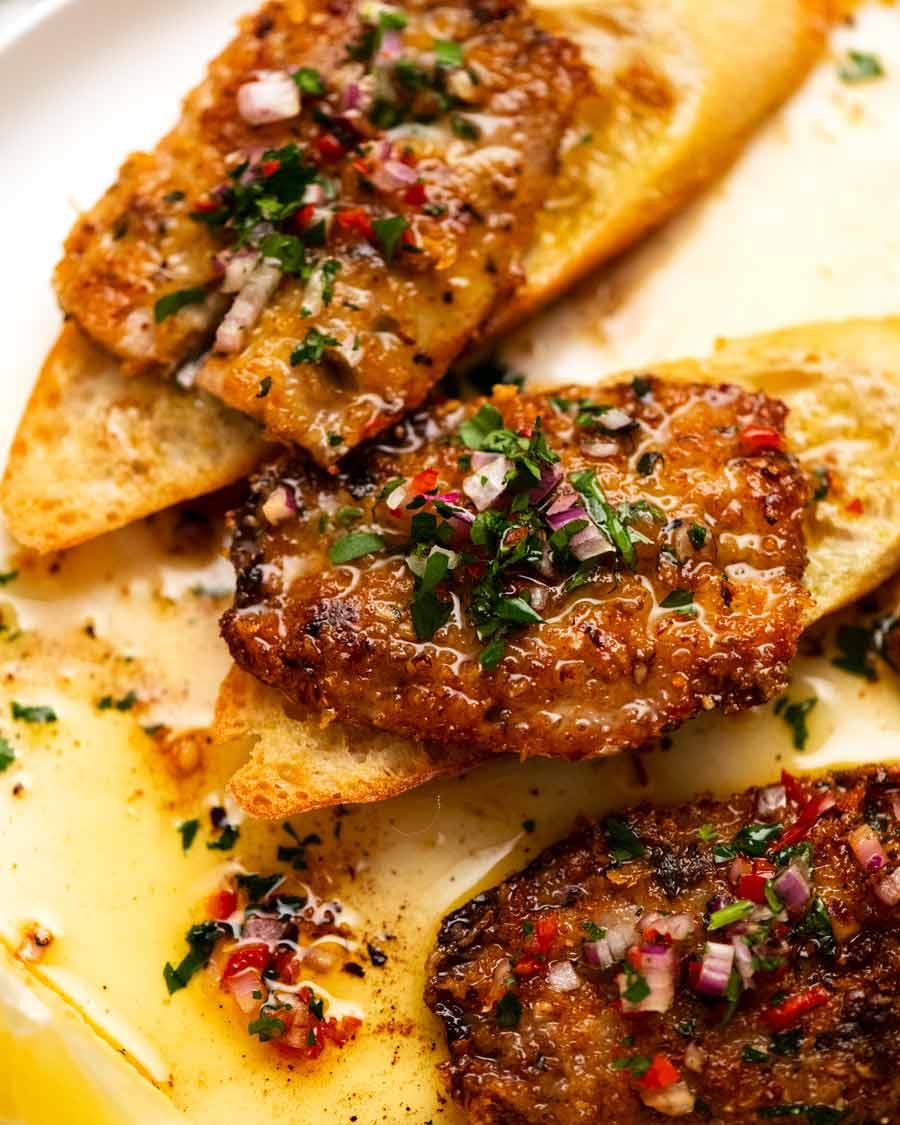 Mediterranean Crusted Sardines on toast