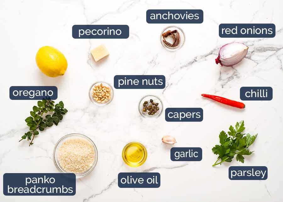 Ingredients in crust for Mediterranean Crusted Sardines