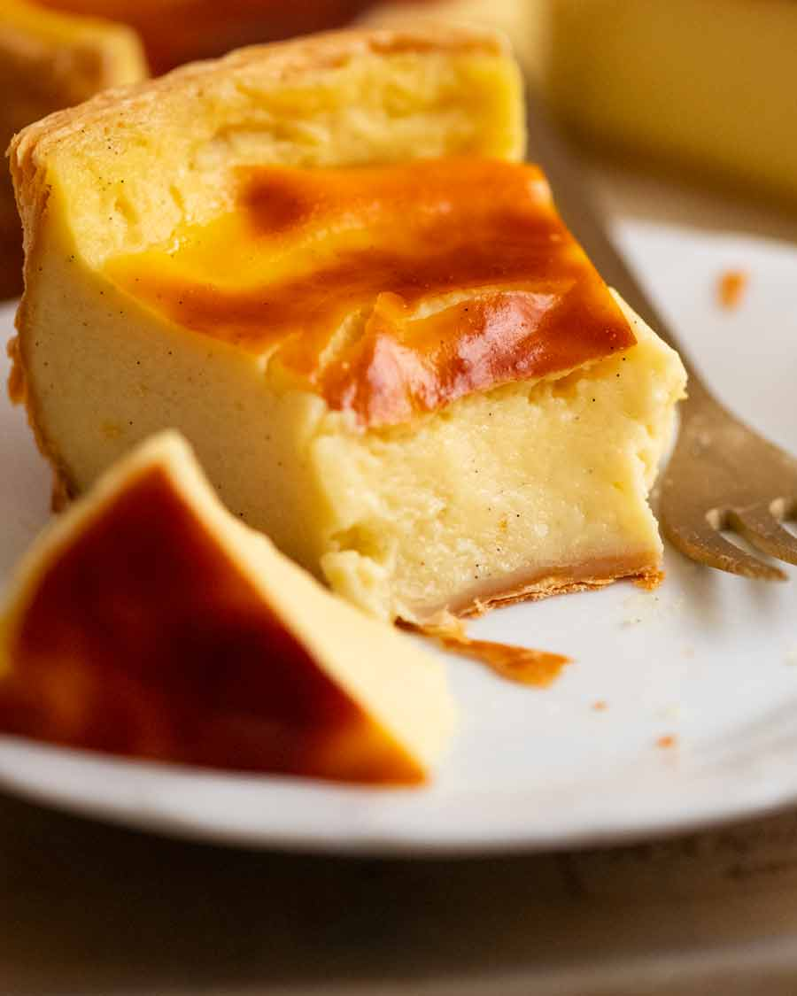 Showing the creamy custard inside of a slice of Flan Patissier